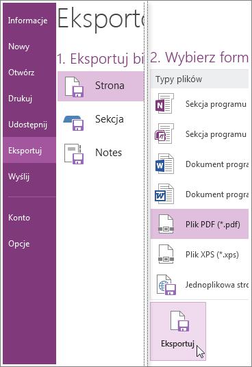 Możesz wyeksportować notatki w innych formatach, jak PDF, XPS lub dokument programu Word.