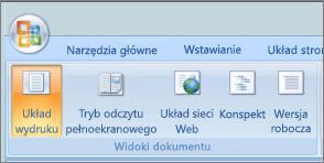 Zrzut ekranu przedstawia grupie Widoki dokumentu z zaznaczoną opcją układ wydruku. Inne dostępne są następujące opcje trybu odczytu pełnoekranowego, układ sieci Web, konspekt i wersja robocza.