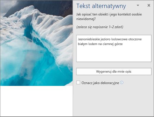 Nowe: okno dialogowe Tekst alternatywny pokazujące automatycznie wygenerowany tekst alternatywny w programie Word.