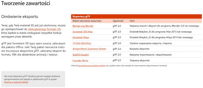 Zrzut ekranu: sekcja Tworzenie zawartości dla wskazówek dotyczących zawartości 3D