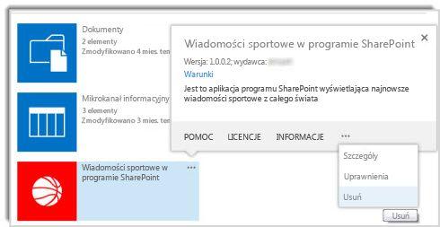 Zrzut ekranu przedstawiający polecenie usuwania w objaśnieniu właściwości aplikacji.