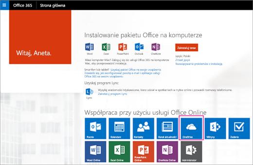 W oknie uruchamiania aplikacji wybierz kafelek OneDrive.