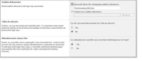Okno zaawansowanych ustawień typu zawartości witryny