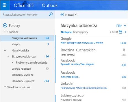 Widok podstawowy aplikacji Outlook w sieci Web
