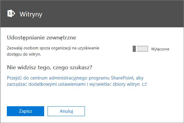 Zrzut ekranu przedstawiający wygląd okna dialogowego Udostępnianie zewnętrzne w przypadku, gdy ustawienie Zezwalaj osobom spoza organizacji na uzyskiwanie dostępu do witryn jest wyłączone.