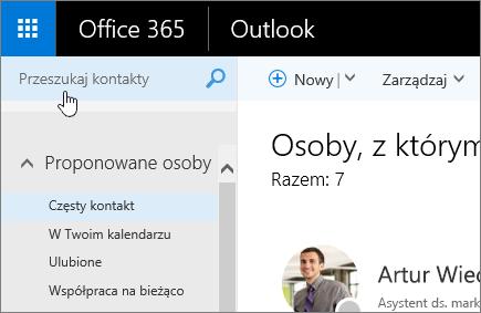 Zrzut ekranu Kontakty z wybranym polem Wyszukaj w kontaktach.