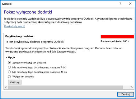 Wyłącz dodatki programu Outlook