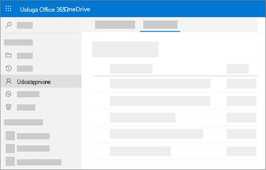 Zrzut ekranu przedstawiający udostępnione przez mnie wyświetlanie w usłudze OneDrive dla firm