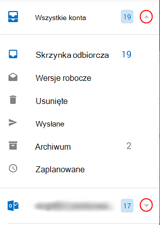 Wyświetla foldery programu Outlook za pomocą rozwijanych strzałek zaznaczonych kółkiem z prawej strony ekranu.