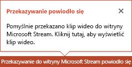 Program PowerPoint wyświetla powiadomienie po zakończeniu przekazywania