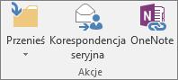 Przycisk Korespondencja seryjna znajduje się na karcie Narzędzia główne w grupie Akcje