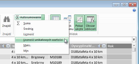 Tworzenie liczby wartości odrębnych w dodatku PowerPivot