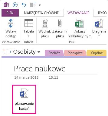Wstawianie ikony pliku programu Visio na stronie