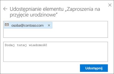 Zrzut ekranu przedstawiający zapraszanie osób po wybraniu opcji wysłania wiadomości e-mail w oknie dialogowym Udostępnianie