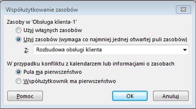Opcje w oknie dialogowym Współużytkowanie zasobów