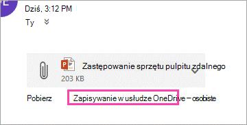 Link pobierania do zapisania załącznika w usłudze OneDrive.