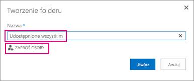 Wybieranie folderu Udostępnione wszystkim w usłudze OneDrive