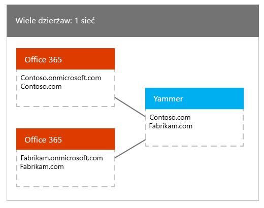 Wiele dzierżaw usługi Office 365 mapowane na jedną siecią usługi Yammer