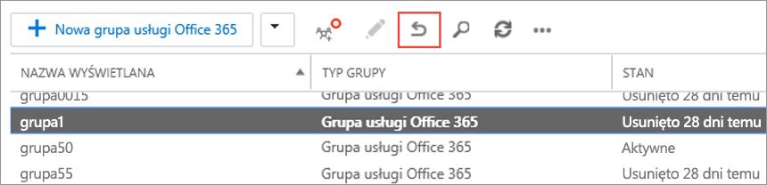 Wybierz grupę, którą chcesz przywrócić, a następnie kliknij ikonę przywracania.