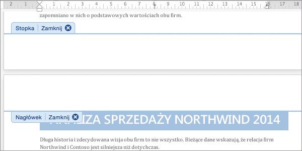Kliknij dwukrotnie obszar nagłówka lub stopki, aby go otworzyć do edycji.