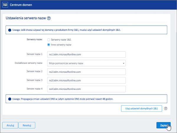 Kliknięcie przycisku Save (Zapisz) na stronie Name Server Settings (Ustawienia serwerów nazw)