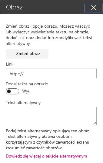 Obraz sieci web part w okienku Przybornik