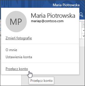 Zrzut ekranu przedstawiający sposób przełączania kont w aplikacji klasycznej pakietu Office