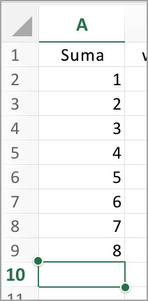 Zaznacz kolumnę dla funkcji autoSumowanie