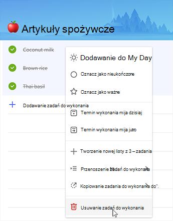 Zrzut ekranu przedstawiający opcję, aby usunąć zadania do wykonania w menu kontekstowym