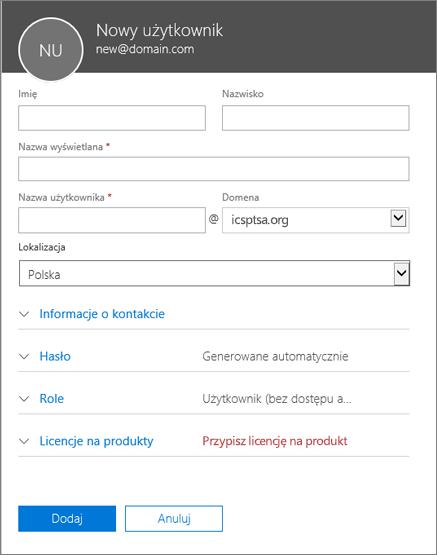 Zrzut ekranu, na którym widać pola do wypełnienia podczas dodawania użytkownika do usługi Office 365 dla firm