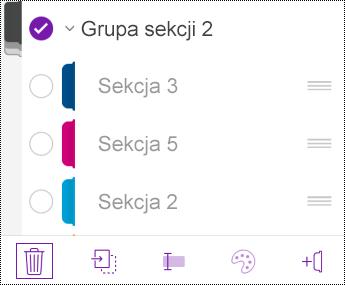 Usuwanie grupy sekcji w aplikacji OneNote dla systemu iOS