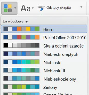 Opcje kolorów, po kliknięciu przycisku kolory