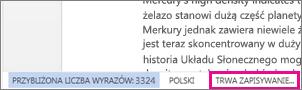 Obraz paska stanu w aplikacji Word Online