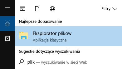 Na pasku Start wpisz nazwę Eksplorator plików, a następnie otwórz to narzędzie.