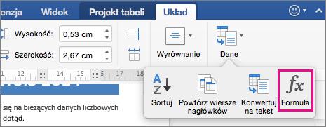 Na karcie Układ kliknij pozycję Dane, aby wyświetlić menu, a następnie kliknij pozycję Formuła.