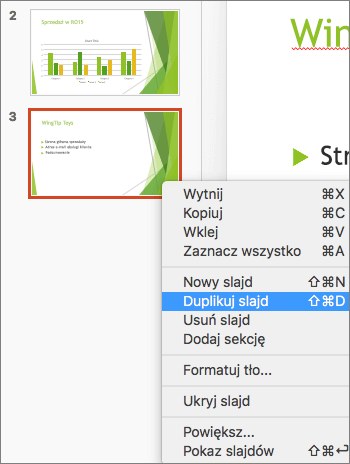 Zrzut ekranu przedstawia zaznaczony slajd oraz opcję Duplikuj slajd wybraną w menu wyświetlanym po kliknięciu prawym przyciskiem myszy.