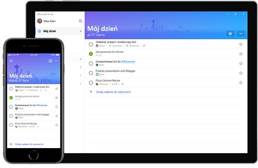 Lista Mój dzień aplikacji Microsoft To-Do na telefonie iPhone i tablecie Surface