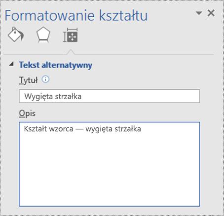 Okno dialogowe Tekst alternatywny dla kształtu wzorca w programie Visio.
