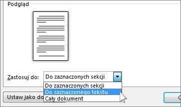 Opcje orientacji strony