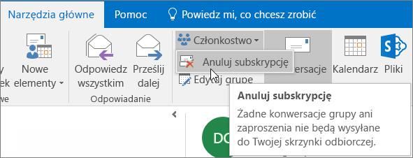 Użytkownicy mogą anulować subskrypcję grupy i nie otrzymywać już więcej wiadomości e-mail w swoich skrzynkach odbiorczych.