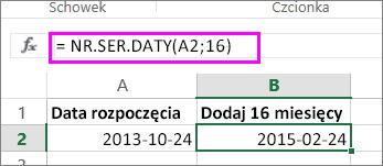 dodawanie miesięcy do daty przy użyciu formuły NR.SER.DATY