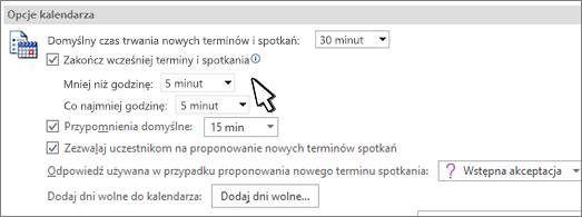 Okno dialogowe opcji kalendarza z zaznaczonym polem wyboru Zakończ wcześniej terminy i spotkania
