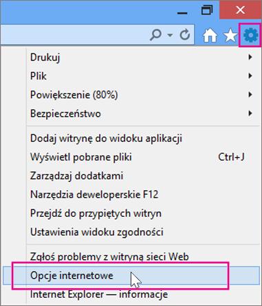 Narzędzia > Opcje internetowe
