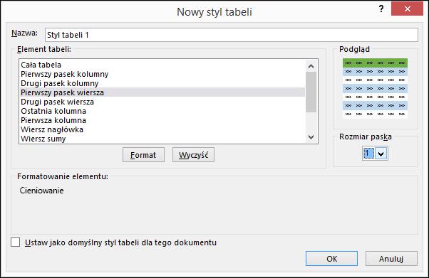 Opcje okna dialogowego Nowy styl tabeli do stosowania stylów niestandardowych do tabeli