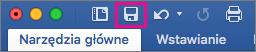 Ikona Zapisz jest wyróżniona na Wstążce w programie Word 2016 dla komputerów Mac.