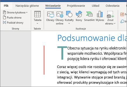 Obrazy, grafika SmartArt i wykresy w programie Word w usłudze Office 365