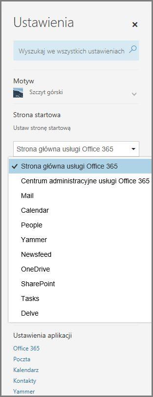 Zmienianie strony startowej usługi Office 365