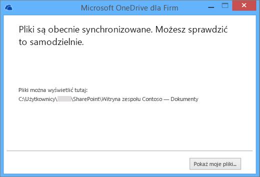 Obraz okna dialogowego, które jest wyświetlane po rozpoczęciu synchronizacji.