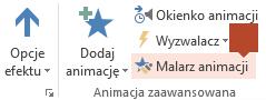 Malarz animacji jest dostępny na wstążce paska narzędzi Animacja po zaznaczeniu animowanego elementu na slajdzie