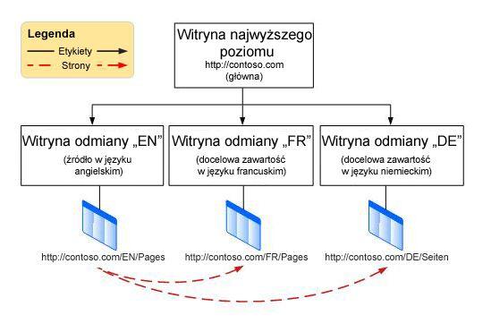Wykres hierarchii, zawierający witrynę główną na najwyższym poziomie i trzy odmiany poniżej. Odmiany dotyczą języków angielskiego, francuskiego i niemieckiego.